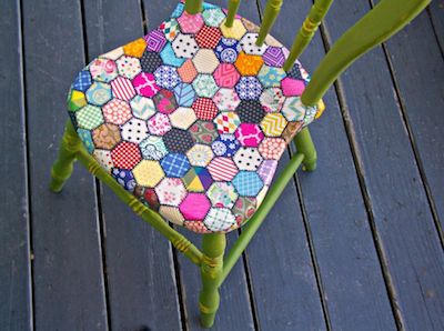 decoupaged wood dining chair