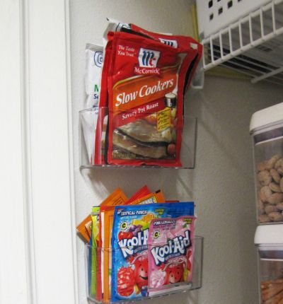 Plastic racks hung inside the pantry