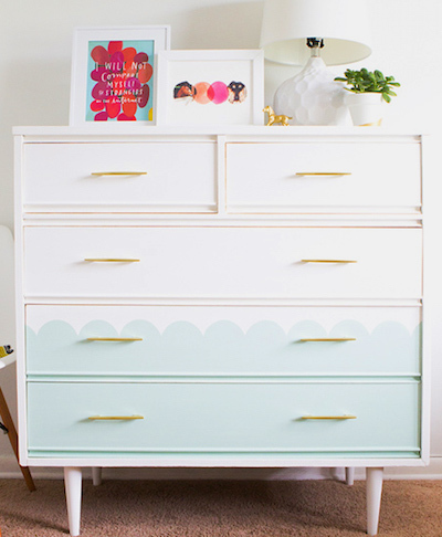 dresser makeover chalky finish paint