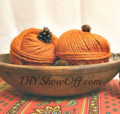 Yarn ball pumpkins