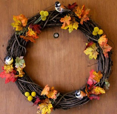 Fall wreath with twigs and leaves