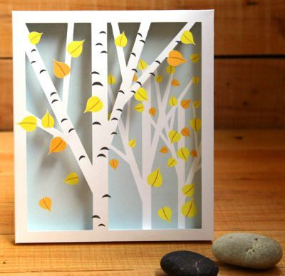 Shadow box with birch trees and fall leaves
