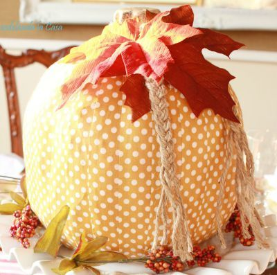 Pumpkins covered in decorative fabric