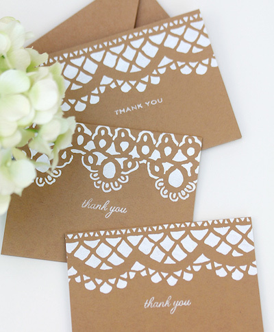 stenciled handmade thank you cards