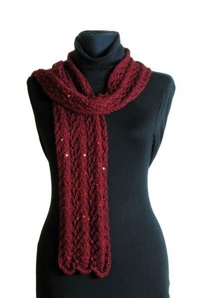Deep red scarf with cables
