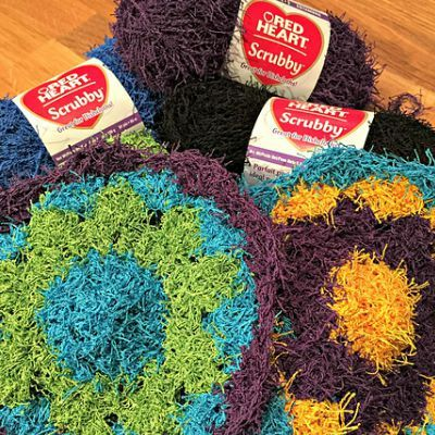 flower kitchen scrubby crochet pattern