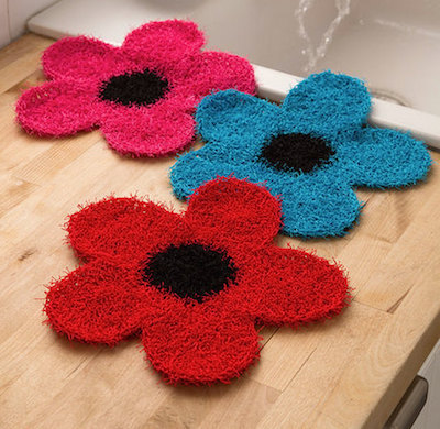 flower dishcloth scrubby crochet pattern