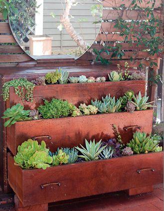 Upcycled vintage dresser garden