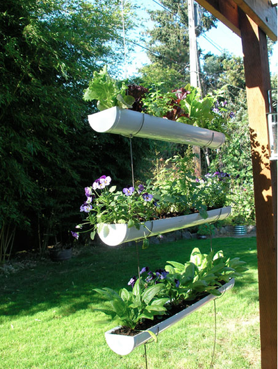 upcycled Rain gutter planters