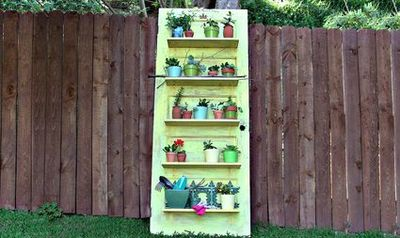 vintage door shelves for potted plants