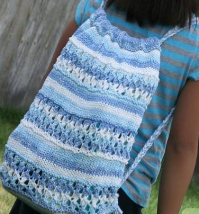loom knitting drawstring backpack
