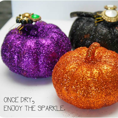 glittered pumpkins halloween decoration