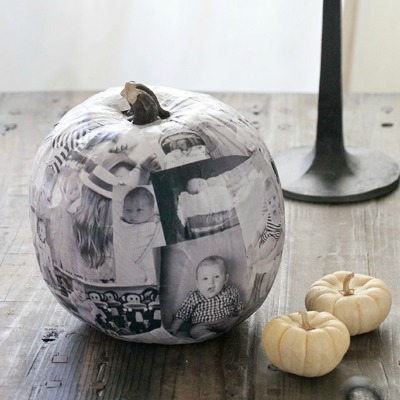 photo decoupage pumpkin