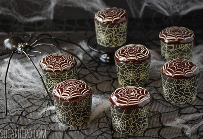 Chocolate spiderweb cupcakes for Halloween
