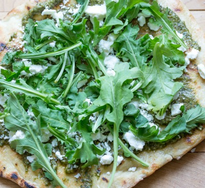 Grilled pizza with pesto and feta cheese