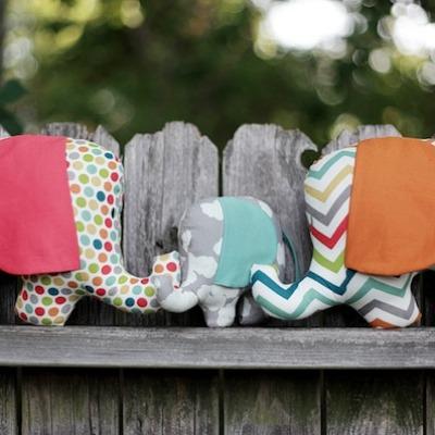 Family of DIY elephant softies
