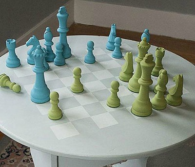 Chalky Finish Chess Board and Pieces