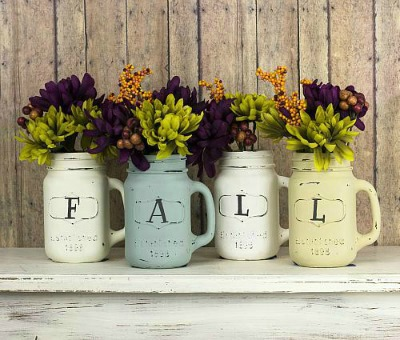 Chalky Finish Mason Jar Vases
