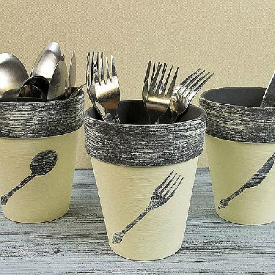 Chalky Finish Utensil Terra Cotta Pots