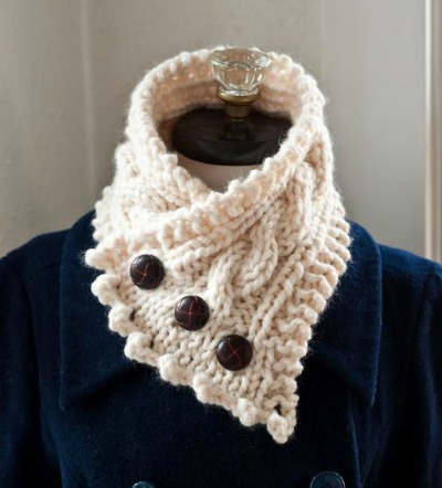 6 Gauge Knit Cowl with Buttons