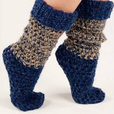 Blue and gray chunky socks
