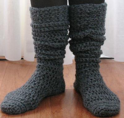 Knee-high gray socks