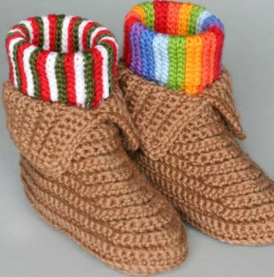 Crocheted moccasins