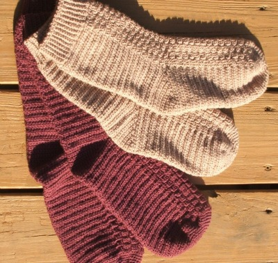 Ribbed, crocheted socks
