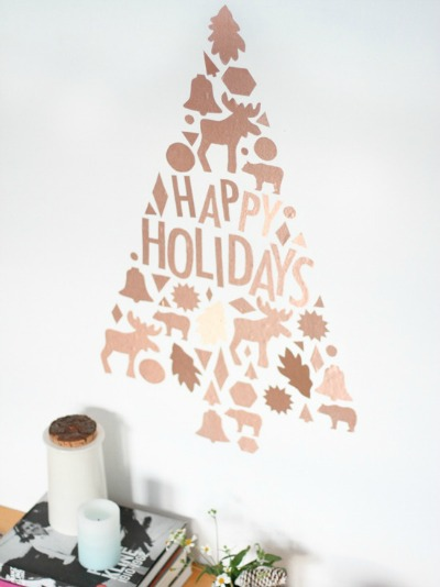 Holiday Wall Decals out of Cookie Cutters