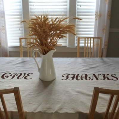 Easy stenciled drop cloth tablecloth