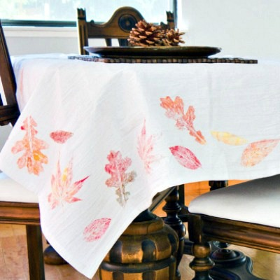 Painted leaf DIY tablecloth