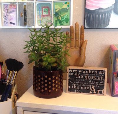 stenciled glass succulent pot