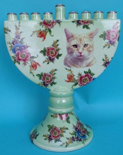 Tabby Cat Menorah