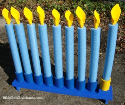 Pool Noodle Menorah