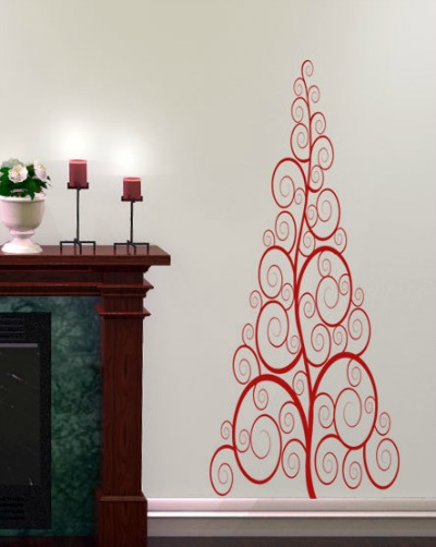 Swirls Christmas Tree Wall Decal