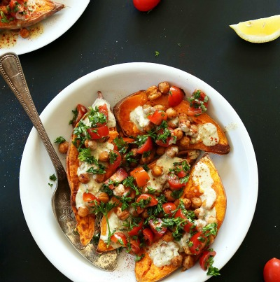 Vegan Mediterranean Baked Sweet Potatoes