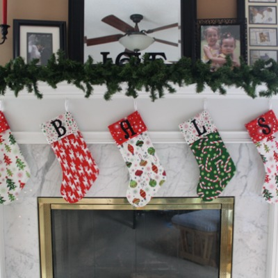 Easy christmas stocking pattern with alphabet appliqué