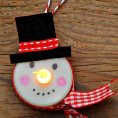 Snowmen tea light ornaments
