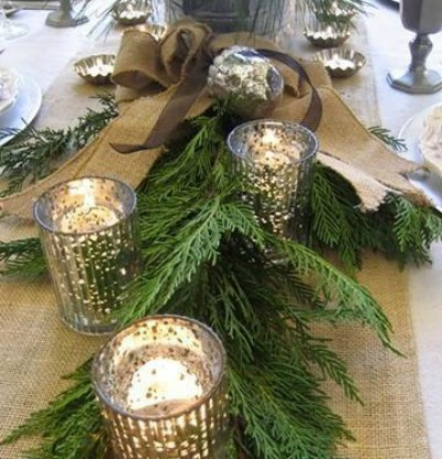 Sparkly Votives and Winter Greens