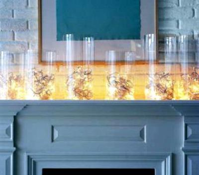 Fairy Lights in Hurricane Glasses