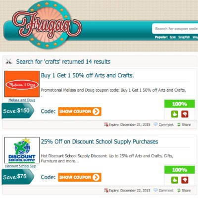Searching for crafts coupons and deals