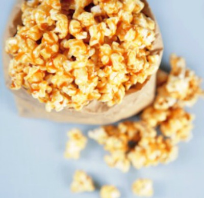 Popcorn coated in caramel