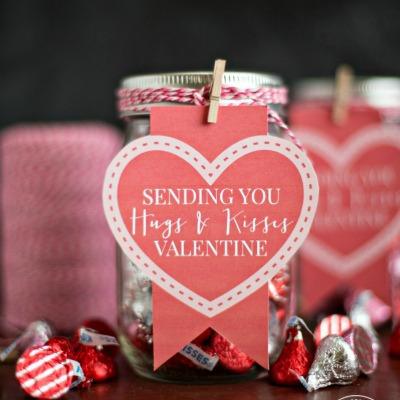 hugs and kisses candy mason jar valentine
