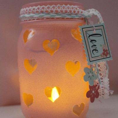 spray paint and stencil valentine mason jar