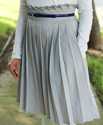 Paper Bag Waist Skirt with Pleats