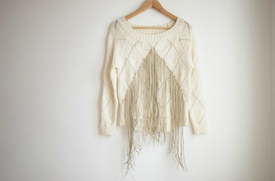 Fringe-Front Knit Sweater