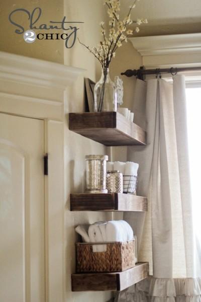 Easy DIY wooden floating shelves