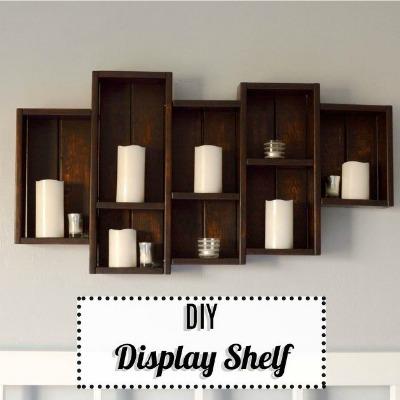 DIY scrap wood floating display shelves