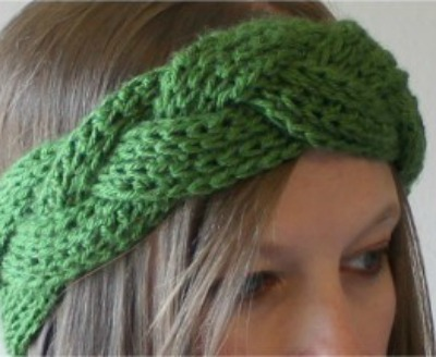 Green, braided headband