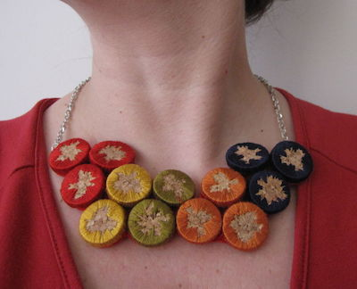 embroidered cork necklace